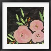Framed Black and Light Pink Floral