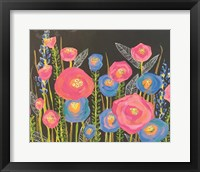 Framed Pink and Blue Flowers