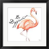 Be Different Flamingo I Framed Print