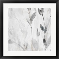 Gray Misty Leaves Square II Framed Print