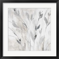 Gray Misty Leaves Square I Framed Print