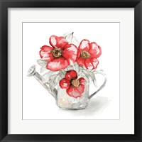Red Florals In Watering Can I Framed Print