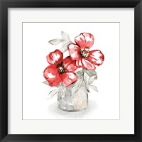 Red Florals In Watering Can II Framed Print