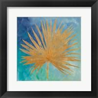 Framed Teal Gold Leaf Palm I