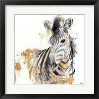 Water Zebra with Gold Framed Print
