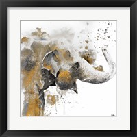Water Elephant with Gold Framed Print