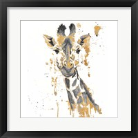 Gold Water Giraffe Framed Print