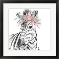 Water Zebra with Floral Crown Square Framed Print