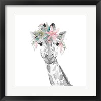Water Giraffe with Floral Crown Square Framed Print