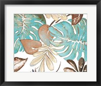 Framed Teal and Tan Palms I