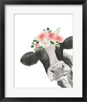 Framed Hello Cow With Flower Crown