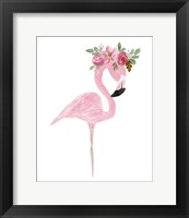 Framed Pink Floral Crown Flamingo