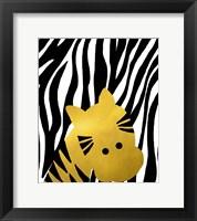 Gold Baby Zebra Framed Print