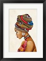 Framed African Goddess on Beige