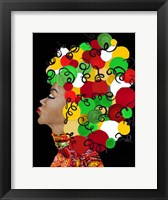 Framed African Goddess With Colorful Hair