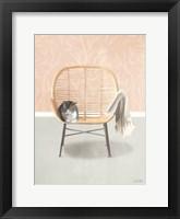 Framed Nap Time Gray and White Cat