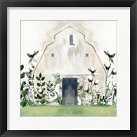 Framed White Floral Barn