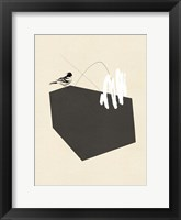 Steel Sequin with Bird I Framed Print