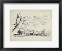 Sketched Barn View I Framed Print