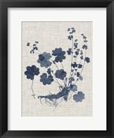 Navy & Linen Leaves I Framed Print