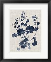 Navy & Linen Leaves II Framed Print