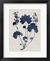 Navy & Linen Leaves III Framed Print