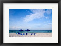 Framed Blue Chairs and Umbrellas