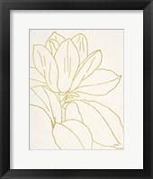 Gold Magnolia Line Drawing v2 Crop Framed Print