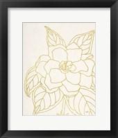 Gold Gardenia Line Drawing Crop Framed Print