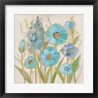 Opalescent Floral I Blue Framed Print