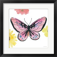 Beautiful Butterfly I Pink Framed Print