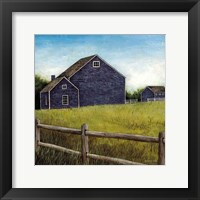 Framed Weathered Barns Navy