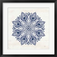 Bohemian Vibes VI Mandala Blue Framed Print