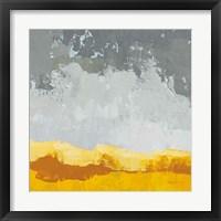 Framed Landscape Yellow Grey
