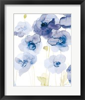 Delicate Poppies III Blue Framed Print