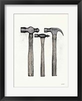 Hammers with Color Crop Framed Print