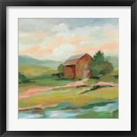 Framed Springtime Farm Pastel Sq