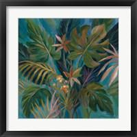 Framed Midnight Tropical Leaves