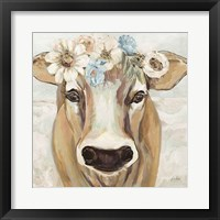 Framed Beau with Flowers Neutral