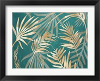 Glam Leaves Teal 1 Framed Print