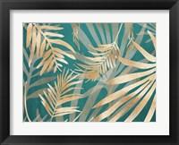 Glam Leaves Teal 2 Framed Print