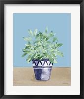 Herb Garden V White Navy Framed Print