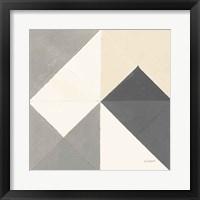 Triangles IV Neutral Crop Framed Print