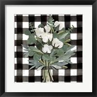 Buffalo Check Cut Paper Bouquet I Framed Print