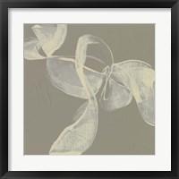 White Ribbon on Beige I Framed Print