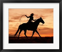 Framed Cowgirl Silhouette
