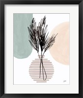 Pampas Stem Still Life Soft Coral Framed Print