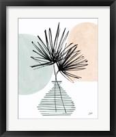 Fan Leaves Still Life Soft Coral Framed Print