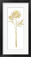 Floral Line I White Gold Framed Print
