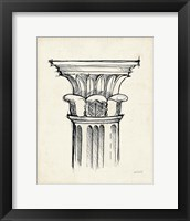 Museum Sketches VIII Off White Framed Print